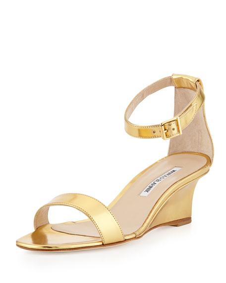 manolo blahnik valere metallic demiwedge sandal gold