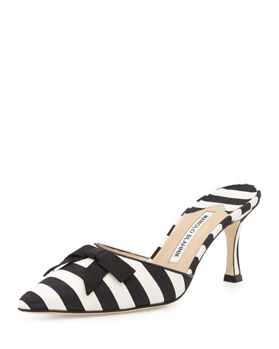 Carolyne Mid-Heel Striped Fabric Slide, Black/White