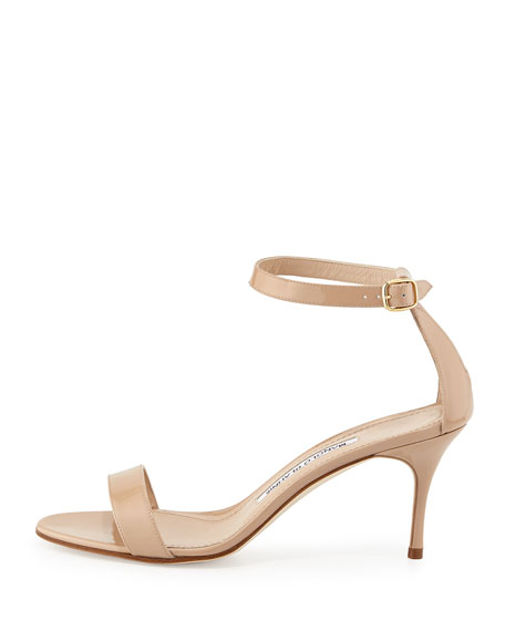 Chaos Patent Ankle Strap Sandal, Nude