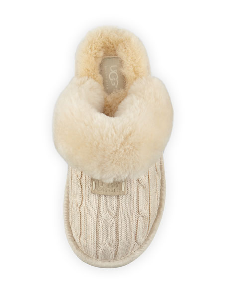 Cozy Knit Shearling Slipper, Cream
