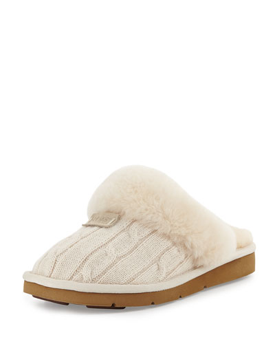 Cozy Knit Shearling Slipper, Cream