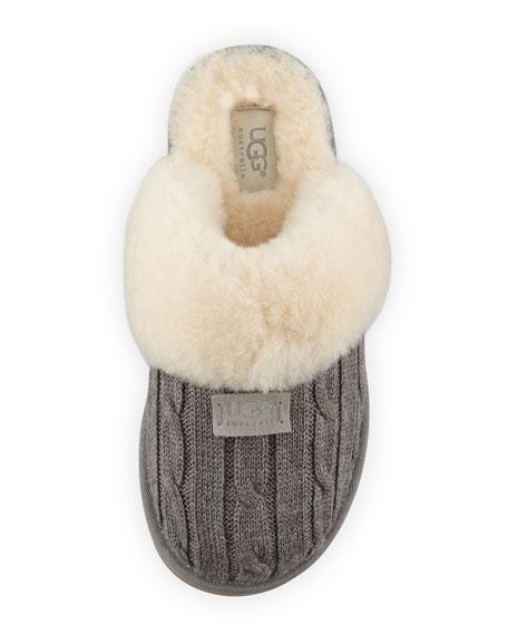 Cozy Knit Shearling Slipper, Heather Gray