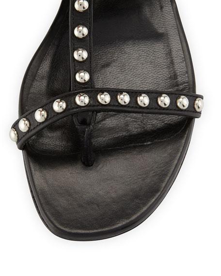 Studded Leather Fringe Sandal, Nero
