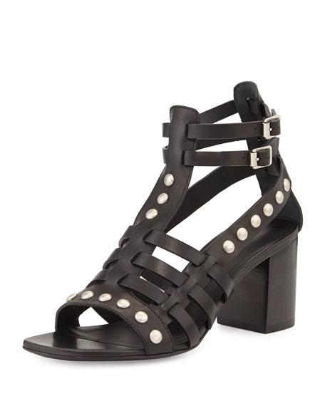 Saint Laurent Leather Stud Caged-Front Sandal, Noir