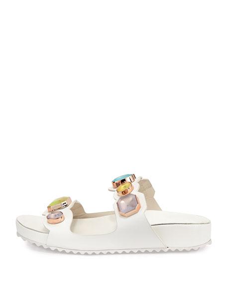 Becky Gem Slide Sandal, White