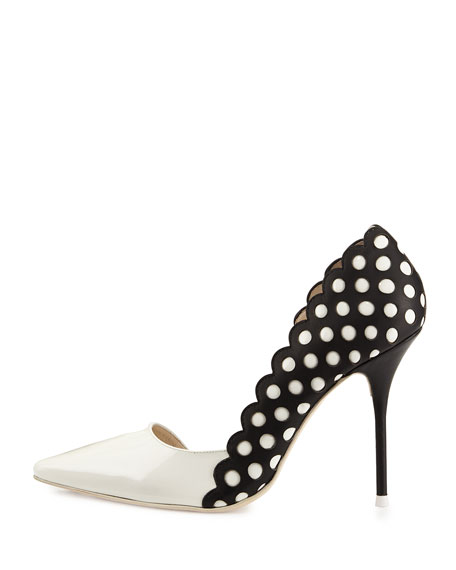 Mika Polka Dot Leather Pump, Black/White
