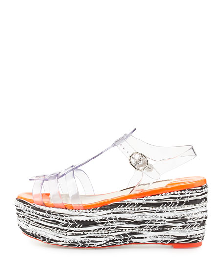 Suki Jelly Platform Wedge Sandal, Crystal Vinyl