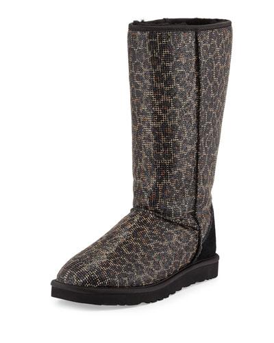 Glitter Leopard-Print Classic Tall Boot, Black