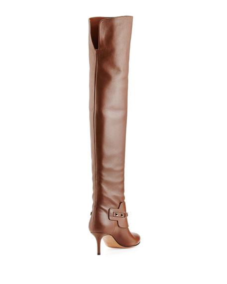 Rockstud Low-Heel Over-the-Knee Boot