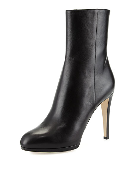 Sergio Rossi Leather Ankle Boot, Black