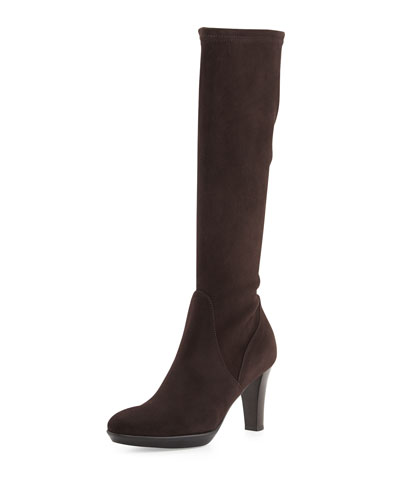 Rhumba Weatherproof Suede Knee Boot, Brown