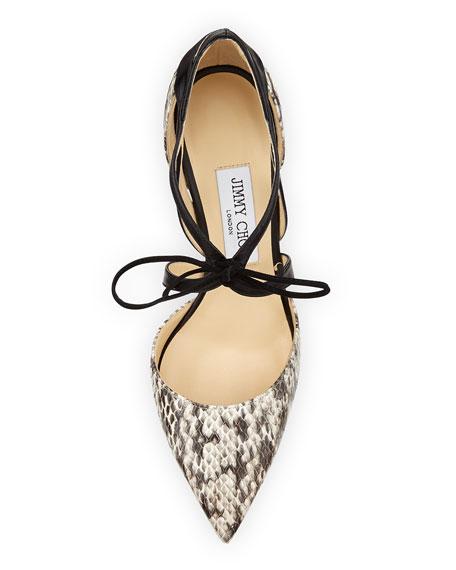 Lapris Snakeskin Ankle-Wrap Pump, Natural/Black
