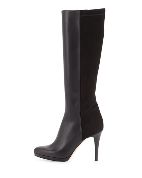 Allegra Leather & Suede Knee Boot, Black