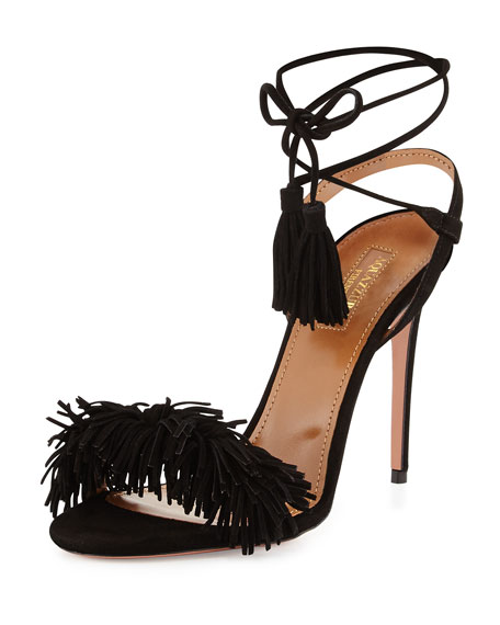 Aquazzura Wild Thing Suede 105mm Sandal, Black