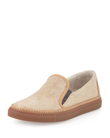 Brunello Cucinelli Glitter Slip-On Skate Shoe, Gold