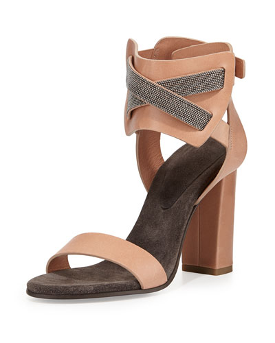 Monili Chain Crisscross Leather Sandal, Biscotti