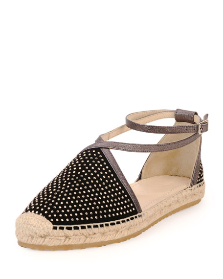 Donna Studded Espadrille Flat, Black