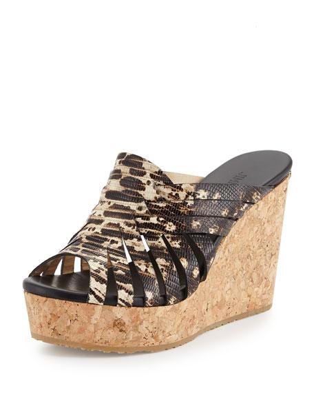 Jimmy Choo Pedra Lizard-Print Woven Wedge Sandal