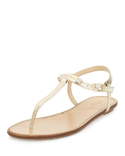 Wave Metallic Leather Thong Sandal