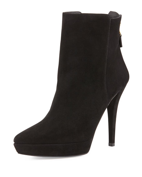 Mizzip Suede Point-Toe Ankle Boot, Black