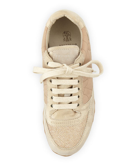 Suede/Velour/Quilted Sneaker