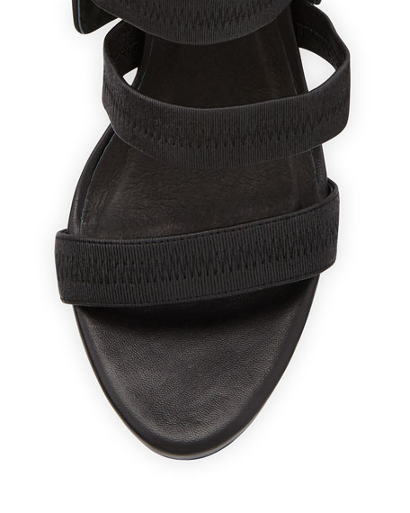 Joie Jana Leather Stretch-Band Sandal, Black