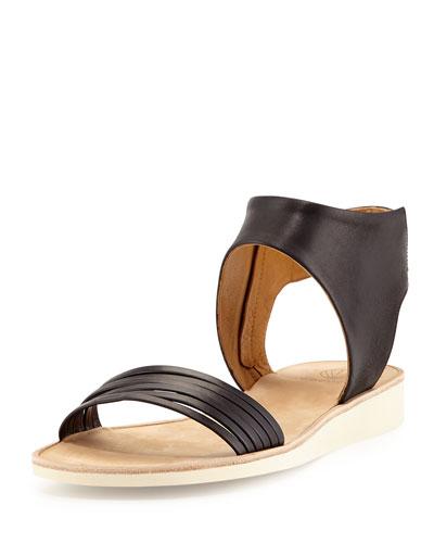 Dione Leather Multi-Strap Sandal, Black