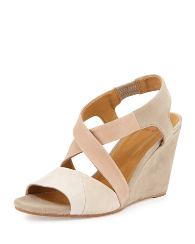 Jane Two-Tone Suede Wedge, Nude