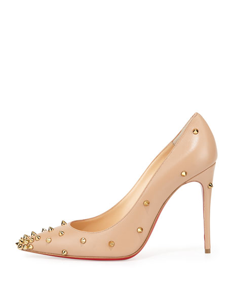Degraspike Studded Leather Red Sole Pump, Nude/Gold