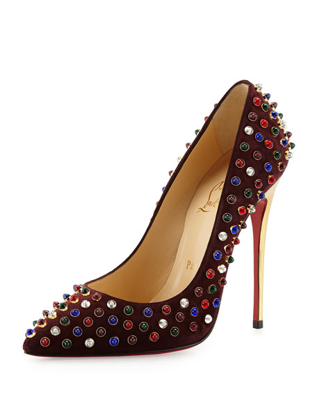Follies Cabo Suede Red Sole Pump, Burgundy