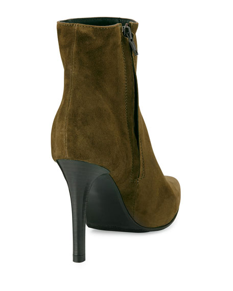 Dubio Pointy Suede Bootie, Olive