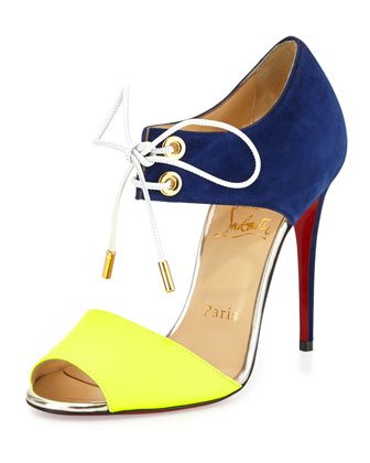 CHRISTIAN LOUBOUTIN Mayerling Bicolor Fluorescent Red Sole Sandal in Juane