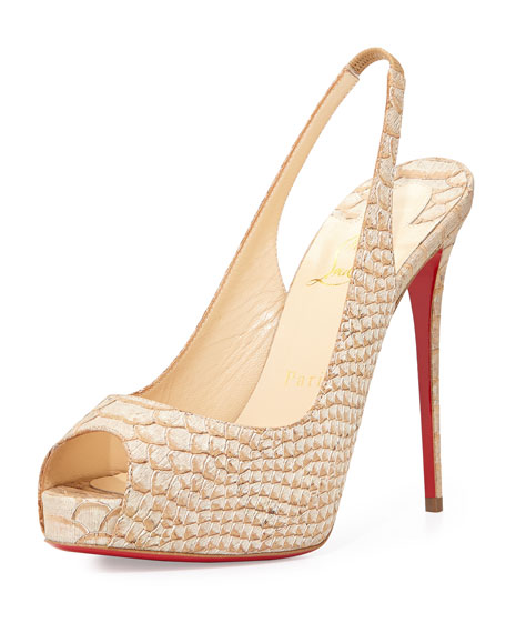 Christian LouboutinPrivate Number Python-Embossed Red Sole Pump,