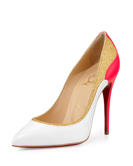 Tucskick GIittered Red Sole Pump, White/Gold