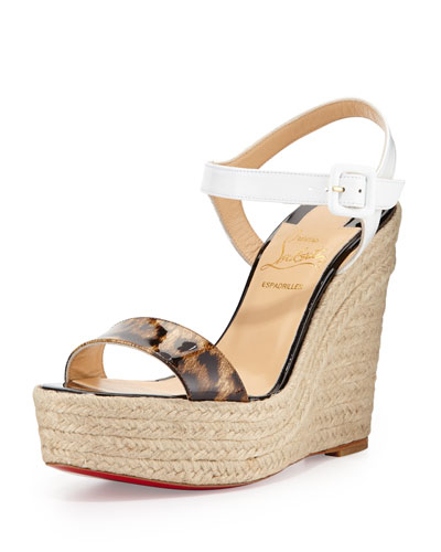 Christian Louboutin Spachia Leopard Red Sole Espadrille, Brown