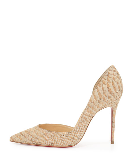 red spiked shoes - Christian Louboutin Iriza Half-d'Orsay Red Sole Pump, Cork