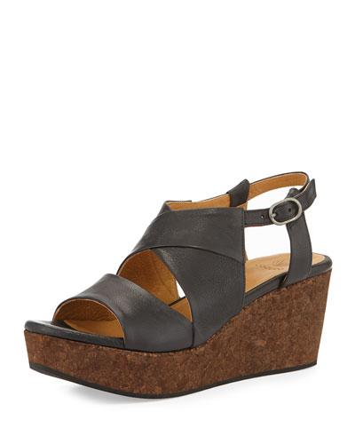 Melania Strappy Leather Wedge, Black