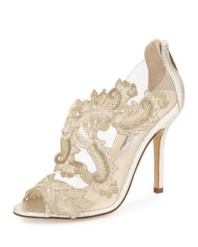 Oscar de la Renta Ambria Metallic Beaded Lace Sandal