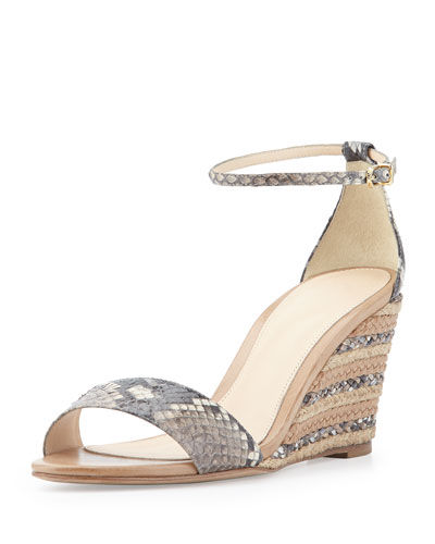 Python and Leather Demi Wedge Sandal