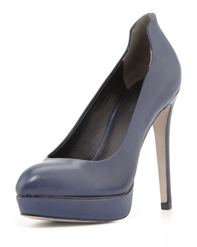 Aya Leather Platform Pump, Ink