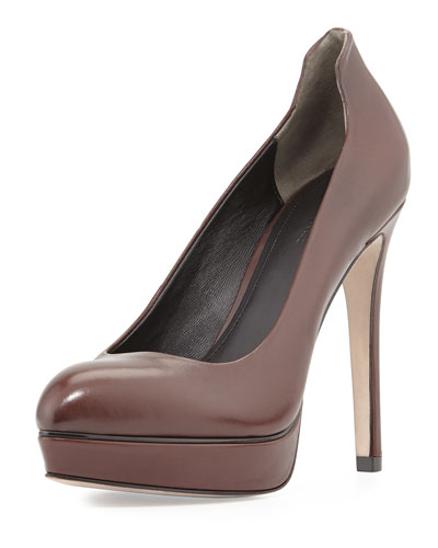 Aya Leather Platform Pump, Merlot