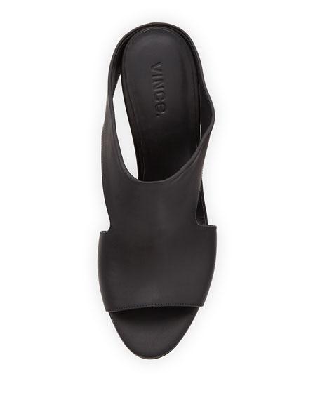 Kaya Leather Wedge Mule Slide, Black