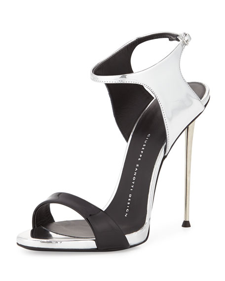Patent/Metallic Ankle-Wrap Sandal