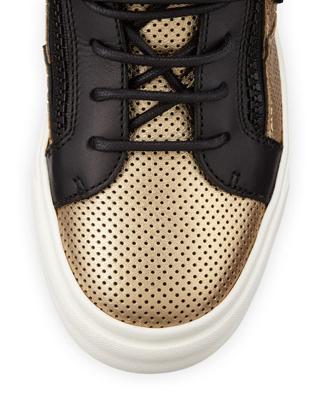 Perforated Metallic Sneaker, Gold/Black