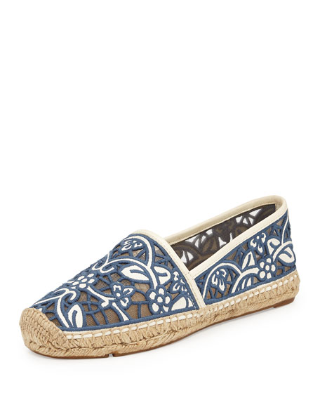 Tory Burch Lucia Lace Espadrille, Ivory