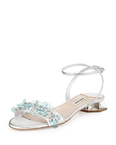 Embroidered Facet-Jewel Heel Sandal, Argento