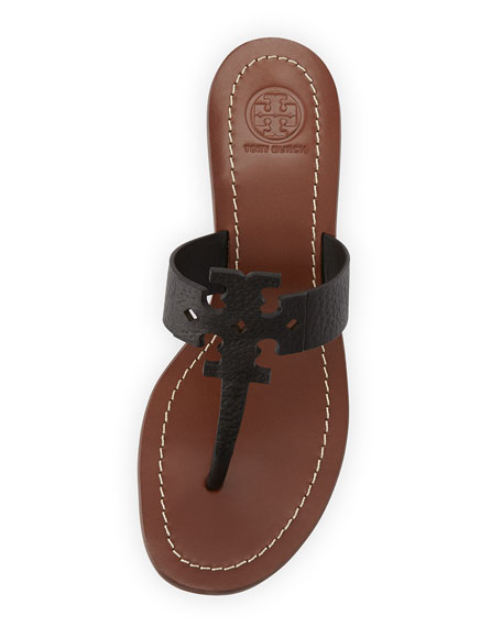 Moore Leather Logo City Sandal, Black