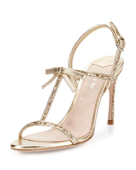 Miu Miu Glitter T-Strap Sandal, Pirite