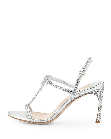 Glitter T-Strap Sandal, Argento