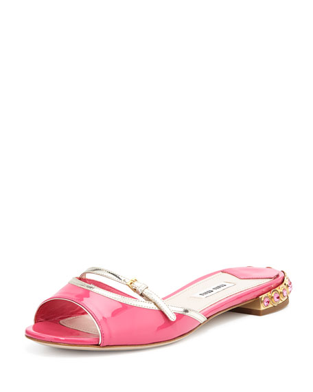 Miu Miu Patent Leather Jeweled-Heel Slide Sandal, Peonia Pirite